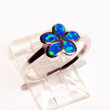 Blue Opal Flower Ring