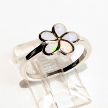 White Opal Flower Ring