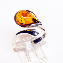 Teardrop Amber Spoon Ring