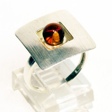 Square  Amber and Satin Silver Ring