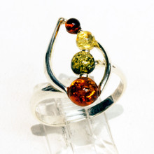 Multi Color Amber Leaf Ring