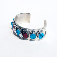 Turquoise and Coral Sterling Silver Cuff