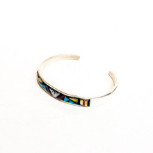 Multi Color Inlay Sterling Silver Cuff