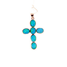 Blue Opal Cross  Pendant