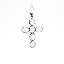 White Opal  Cross Pendant