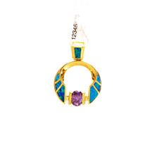 Blue Opal and Amethyst Gold Plated Sterling Silver Pendant