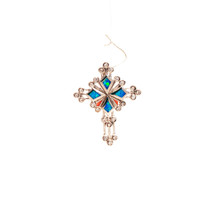 Blue Opal and CZ Sterling Silver Cross Pendant