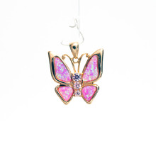Pink Opal Rose Gold Plated Butterfly Pendant with Pink CZs