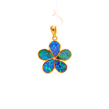 Blue Opal  Gold Plated Sterling Silver Flower Pendant