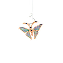 Pink Opal Rose Gold Butterfly Pendant