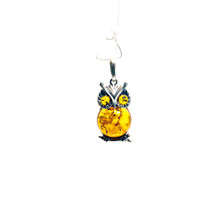 Amber Sterling Silver Owl Pendant