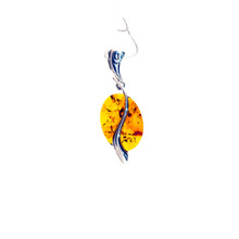 Oval Amber Sterling Silver Pendant