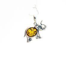 Amber Sterling Silver Elephant Pendant