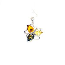 Tri Color Amber Sterling Silver  Pendant