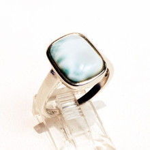 Square Larimar Sterling Silver Ring Sz 8
