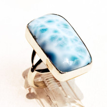 Rectangle Larimar Sterling Silver Ring Sz 8 1/2