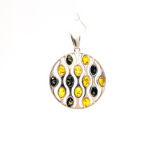 Large Round Multi Color Amber Sterling Silver Pendant
