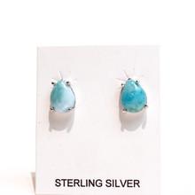 Larimar Teardrop Stud Earrings