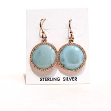 Larimar and CZ  Rose Gold Earrings