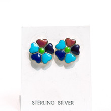 Multi Color Flower Inlay Post Earrings