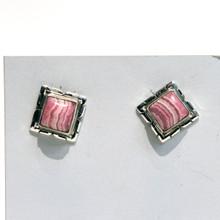 Square Rhodochrosite Earrings