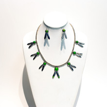 Green Mojave Turquoise Feather Necklace Set