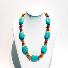 Turquoise and Amber Bead Necklace