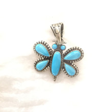 Sterling Silver Butterfly with Sleeping Beauty Turquoise. Navajo made.