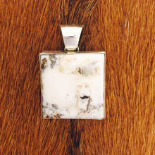White Buffalo Square Pendant 0151