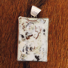 White Buffalo Rectangle Pendant 0190