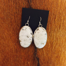 Large Oval White Buffalo Earrings 0249