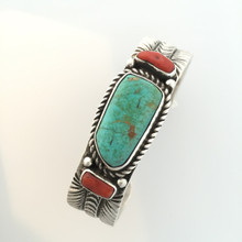 (Small) Turquoise And Red Coral Sterling Silver Cuff Bracelet