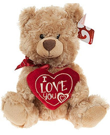 "Approx 10 inches tall  Adorable soft & cuddly teddy bear  Each bear is holding an ""I LOVE YOU"" heart  Decorated with a red ribbon  A cute gift for your partner this Valentines Day"