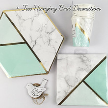 Mint Marble Special Occasion Tableware Party Pack   Cups Napkins Plates