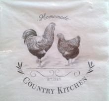 GISELA GRAHAM Pack of 20 Off White Paper Country Kitchen Print Napkin