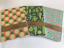 Set of 3 A5 Size Notebooks - Flamingo, Cactus, Pineapple