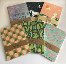Set of 6 A5 Size Notebooks - Mermaid, Llama, Unicorn, Flamingo, Cactus, Pineapple