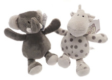 Elli & Raff Pair of Soft Plush Grey and Cream 18cm Toys