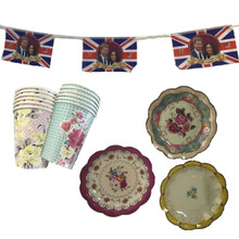 B4E Set of 12 Vintage Cake Plates and Cup Set including a Commemorative Royal Wedding Bunting