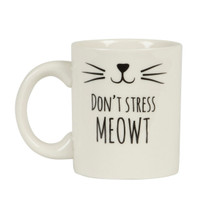 "Sass & Belle Cat's Whiskers ""Don't Stress Meowt"" Mug"