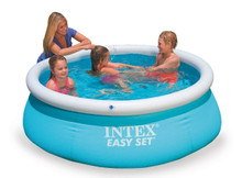 "The Easy Set Pool is the perfect and convenient product to have fun on the bright sunny days.  The Easy Set Pool is the perfect starter pool. Quick and super-easy to set-up and the right size for your younger kids.  The Easy Set Pool Water capacity: 886 Litres  Easy Set Pool dimensions: 183 cm x 51 cm  The Easy Set Pool builds itself as it fills and comes with a drain plug for easy emptying for customer convenience.  The Easy Set Pool is a robust and strong alternative, because the sidewalls are made with 3 separate layers of material for extra strength and durability.  The Easy Set Pool is suitable for ages +3  Box Contains 6' x 20"" Pool liner Strainer Hole Plug Drain Connector Drain Valve Cap"