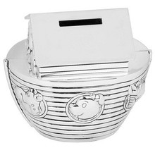 Silver-plated Noah's Ark Money Box New