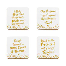 Prosecco slogan coasters. - Set of 4 Coasters