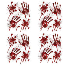 Halloween Window Sticker Bloody Hands- Set of 4