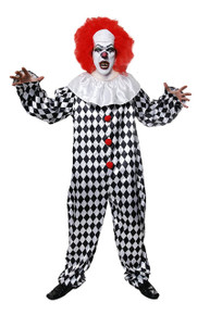 Scary Clown with Wig - Halloween Fancy Dress Costume - Medium