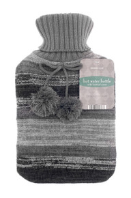 Hot Water Bottles with Knitted Cover-  Dark Grey
