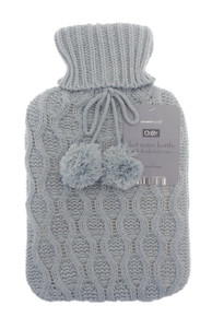 Country Club Hot Water Bottle With Chunky Knitted Cover- Grey