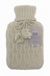Country Club Hot Water Bottle With Chunky Knitted Cover- Beige