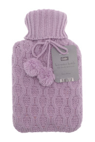 Country Club Hot Water Bottle With Chunky Knitted Cover- Pink