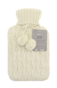 Country Club Hot Water Bottle With Chunky Knitted Cover- creme